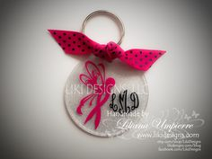 Breast cancer awareness glitter personalized acrylic keychain by LikiDesigns on Etsy