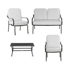 Hampton Bay, Fall River 4 Piece Patio Seating Set With Bare Cushion, DY11034