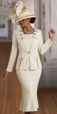 beige suit women | Donna Vinci Knits 2915 Womens Beige Church Suit image