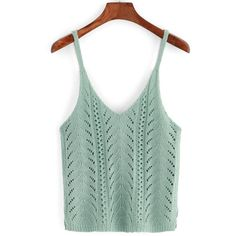 Deep V Neck Eyelet Green Tank Top ($11) ❤ liked on Polyvore featuring tops, tanks, green, spaghetti strap top, spaghetti strap tank, eyelet tank top, green tank top and eyelet top