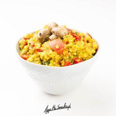 Jednogarnkowe kaszotto z kaszy jaglanej z warzywami ⋆ AgaMaSmaka - żyj i jedz zdrowo! Dog Food Recipes, Vegetarian, Vegan, Fit, Shape, Dog Recipes, Vegans