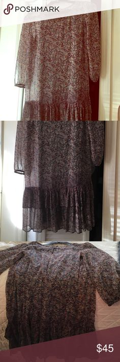 Perfect outfit for Autumn !Fire dress , size Small Size small, with green slip underneath. This dress is light and flower pattern. Perfect for fall days when paired with a nice pair of brown boots. Worn once ! Fire Los Angeles Dresses Midi