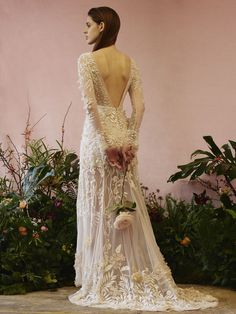 Couture, hand-embroidered wedding gown with open v back and long sleeves. Princess Bridal, Vintage Princess, Princess Wedding Dresses, Bridal Wedding Dresses, Dream Wedding Dresses, Bridesmaid Dresses, Unusual Wedding Dresses, Bohemian Wedding Dresses, Hermione