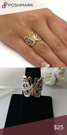 Filigree Butterfly Ring gold plated...never worn...matching necklace for sale as well Jewelry Rings