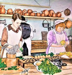 """Colorist Jackie Zoost. Artist Gwen Burns. """" Downton Abbey Coloring Book """". Done with Prismas, Rembrandt Lyra, FC Polychromos , Holbein pencils and Staedtler fine liners."""