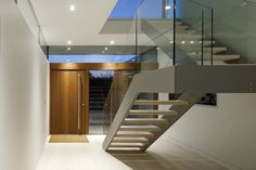 Stairs, Hurst House, Buckinghamshire by John Pardey Architects + Strom Architects Contemporary Stairs, Modern Stairs, Interior Staircase, Staircase Design, House Staircase, Staircases, H Design, House Design, Masonry Wall
