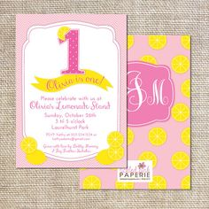 Pink Lemonade Birthday Party Invitation by tickledpinkpaperie, $30.00