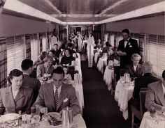 The Lark Club dining room aboard the famous all-Pullman train overnight between Los Angeles and San Francisco in the 1950s