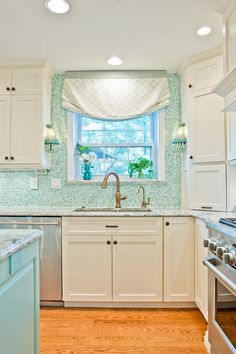 Imagine my delight when I stumbled across this amazing kitchen by interior designer Kevin Thayer! The talented designer worked with Greg Terbrock Design Build to create the stunning sea-inspired dr… Beautiful Kitchens, Cool Kitchens, Dream Kitchens, Kitchen Design, Kitchen Decor, Kitchen Ideas, Decorating Kitchen, House Of Turquoise, Turquoise Kitchen