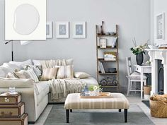 Silvery Gray wall with shelf and fireplace illustrating no-fail paint shades for living spaces