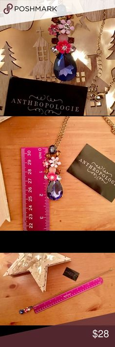 "🎆 Anthropologie 🎆 NWOT 🎆 Blue Teardrop Enamel Fl🌸wers & Crystals 🎆   🎆26"" with 2"" extend🎆Very Pretty!🎆No Flaws🎆  🌸 Price Firm 🌸 Anthropologie Jewelry Necklaces"