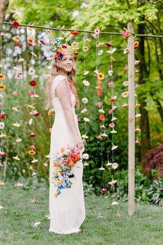 Greenhouse Wedding With Tons Of Color - Real Weddings - Loverly Whimsical Wedding, Boho Wedding, Summer Wedding, Wedding Colors, Rustic Wedding, Wedding Ceremony, Wedding Day, Ceremony Backdrop, Boho Bride