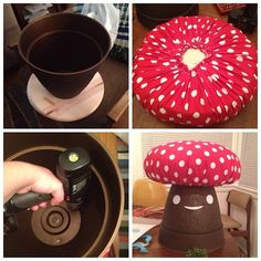 Here's how you make the mushroom stool in case you were wondering! You need a plastic flower pot, a solid round thing (I used pre-cut wood thing from the hardware store), screws, stuffing, and fabric. Trace the flower pot on the wood piece. Gather and staple gun the fabric onto the wood piece (stuff it as you go), make sure it's inside the circle you traced so that it looks pretty when you finish. Screw the flower pot to the bottom. Turn it over, paint a face, make pompoms for moss.