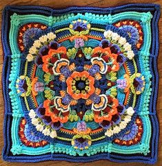crochet mandala pattern High Tea Floral Block pattern by Jen Tyler Motif Mandala Crochet, Granny Square Crochet Pattern, Crochet Blocks, Afghan Crochet Patterns, Crochet Squares, Crochet Granny, Crochet World, Crochet Art, Crochet Crafts
