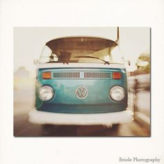 "Vintage VW Bus Photograph ""VDub"" - vintage retro vw bus photograph turquoise photography fine art print cream wall art 8x10, 11x14, 16x20 by Briole on Etsy https://www.etsy.com/listing/155716332/vintage-vw-bus-photograph-vdub-vintage"