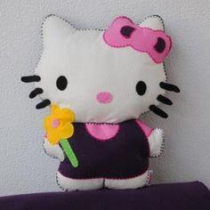 Hello Kitty kussen van vilt, in diverse kleuren mogelijk