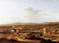 "Italian Landscape with Mountain Plateau, Nicolaes Berchem, 1655, 13""x17"", p. 577-8 (""Still, the Berchem is very good ... this is lovely ... Italy, 1655 ..... the ochres beautiful, no?"")"