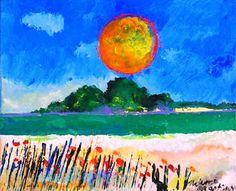 Paisagem com sol amarelo, 2000 Aldemir Martins (Brasil, Brasil, 1922-2006) acríica sobre papel, 18 x 22 cm Coleção Particular