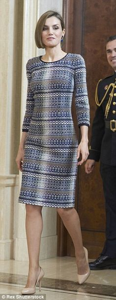 Queen Letizia of Spain attended a audience with the Board of the Royal Association of Friends of the Reina Sofia Museum at Zarzuela Palace on April 30, 2015 in Madrid.