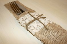 Loads of burlap and lace.