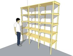How To Build A Large Wooden Garage Storage Shelf; Every garage needs a storage shelf, it helps to keep your garage organized, cle. Garage Storage Shelves, Basement Storage, Built In Shelves, Garage Organization, Basement Remodeling, Diy Storage, Build Shelves, Storage Ideas, Pallet Storage