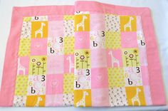 Baby Girl Pink Blanket Self Binding Flannel Double Layered Reversible Multi Purpose Receiving Blanket by BitsyBeeStitches on Etsy