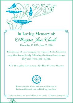 39 best funeral reception invitations design pinterest 39 best funeral reception invitations stopboris