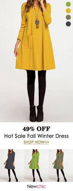 7f0e8d3fd1f Vintage Solid Color Pockets V-neck A-line Dress Plus Size Vintage Dresses