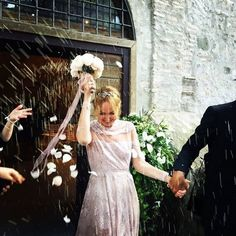 Frida Giannini in a custom Valentino Haute Couture gown on her wedding day