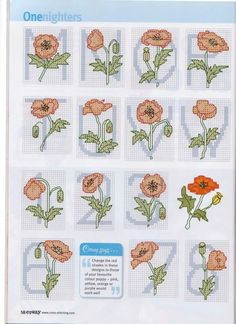 poppy alphabet- 3 of 3 : Gallery. Cross Stitch Letters, Cross Stitch Flowers, Monogram Alphabet, Alphabet And Numbers, Plastic Canvas Letters, Cross Stitch Embroidery, Poppies, Stitch Patterns, Needlework