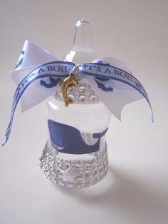 10 Whale Dolphin Marine Bling Baby Shower Bottle Gift Favors Newborn It's A Boy #BabyShower