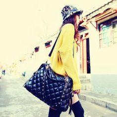 $20.87 Casual Women's Shoulder Bag With Solid Color Belt Rivet Zipper Design