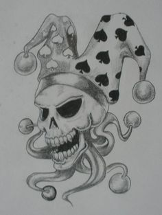 23b4555988396 Skull Jester tattoo no2 by kaydeeire on DeviantArt Evil Clown Tattoos,  Sugar Skull Tattoos,