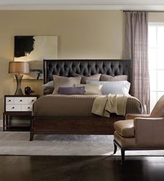 Shop for Hooker Furniture Palisade Upholstered Shelter King Bed - Carbon Fabric, and other Bedroom Upholstered Beds at Norwood Furniture. Furniture, Home Furnishings, Headboard Styles, Bed Furniture, Upholstered Panel Bed, Bedroom Furniture, Upholstery, Wingback Headboard, Furnishings