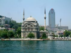 The Dolmabahce Mosque is in Istanbul, Turkey. It was Commissioned by Queen Mother Bezmi Alem Valide Sultan.