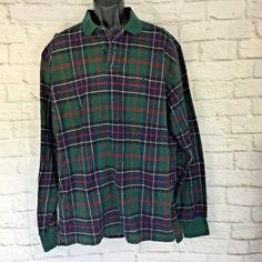 5260cfa5344 Vintage 90s Mens XL Polo Ralph Lauren Thick Flannel Plaid L S Rugby Shirt  USA