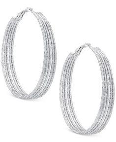 Guess Multi-Row Textured Hoop Earrings  -