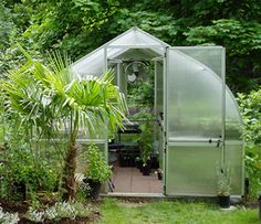 Riga greenhouse, great for northern climates because it's designed to have any snow just slide right off. Available in five different sizes, from 8' by 7' to 10' by 17' for all your greenhouse needs.