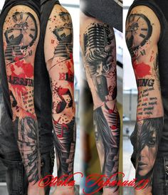 Done at Rock'n'Roll Tattoo Studio Katowice - Trash Polka Red Tattoos, Music Tattoos, Body Art Tattoos, Tattoos For Guys, Cool Tattoos, Dragon Tattoos, Amazing Tattoos, Tatoos, Rock Tattoo