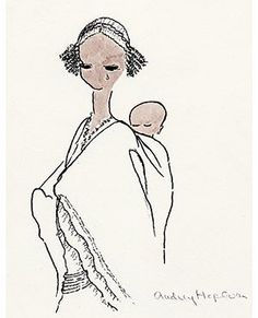 Audrey's drawing of an Ethiopian mother and child was used as a UNICEF greeting card.