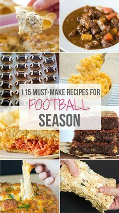 A roundup of my favorite football food recipes including snacks appetizers sandwiches pizza chili and of course sweet treats! Tailgating Recipes, Tailgate Food, Football Recipes, Grilling Recipes, Barbecue Recipes, Game Day Snacks, Game Day Food, Appetizer Recipes, Snack Recipes