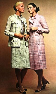 Unmistakably Chanel.. fabulous mint green and powder pink tweed, 1971