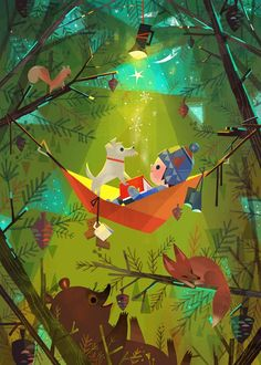 Reading in the forest (illustration by Joey Chou) Art And Illustration, Illustrations Posters, Joey Chou, Cute Art, Book Art, Concept Art, Art Drawings, Fantasy Art, Artwork