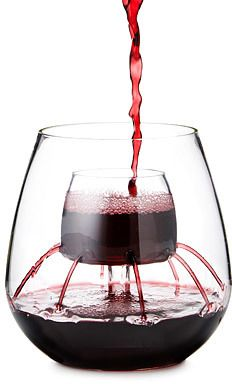 Stemless Fountain Aerating Wine Glass Set - what a GREAT idea!