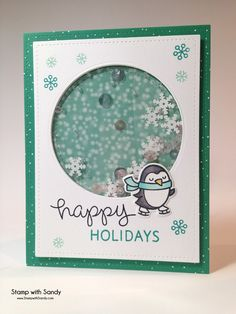Card christmas Lawn Fawn Winter Penguin, Happy Holidays, Stamp with Sandy: Penguin Shaker Card, & Christmas Cards To Make, Xmas Cards, Holiday Cards, Handmade Christmas, Shaker Cards, Winter Cards, Card Tutorials, Tampons, Cool Cards