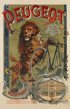 Peugeot by Francisco Tamagno 1899 French - Beautiful Vintage Poster Reproductions.  This French transportation poster features a lion with his paw on a bicycle against a green mosaic background.  Giclee Advertising Print. Classic Posters