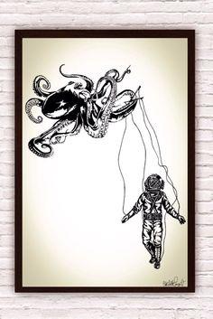Octopus Kraken w/ Deep Sea Diver Marionette // by Clarafornia, $20.00