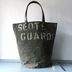 6e7df182e0ab 40 or 50 s UK Scots Guards vintage canvas remake rounded bottom remake tote  bag. IND BNP 00101 UKSG