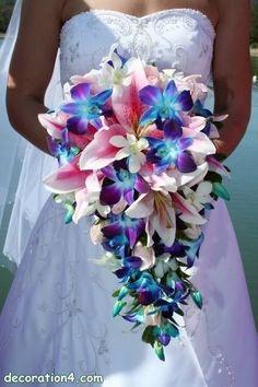 Real Touch Cymbidium Wedding Bouquet   Silk Wedding Flowers   Hassle Free Shipping