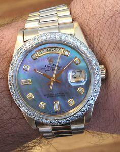 Rolex Mens President Yellow Gold Blue MOP Diamond Face & Bezel